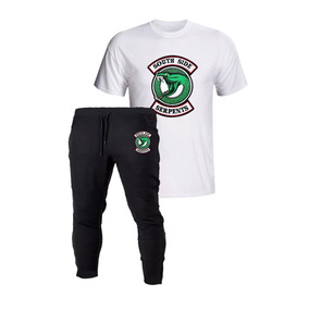 2b080d2ebb Kit Camiseta Branca + Calça Preta Riverdale South Serpentes