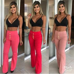 Calça Feminina Flare Cintura Alta Botões Flare Cós Alto 2019
