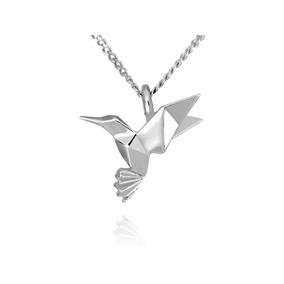 Dije Origami Colibrí De Plata