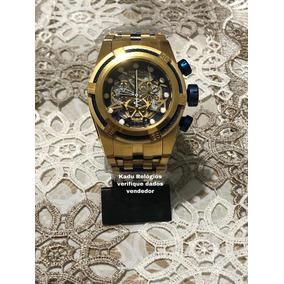 34b31b48151 Relogio Invicta Bolt Zeus Skeleton Dourado Azul Original - Relógios ...