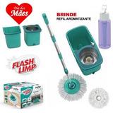 Mop Esfregão Girátorio Inox 360° Flash Limp Pro C/2 Refil