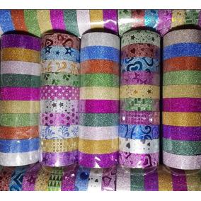Kit C/ 20 Fitas Adesivas Decoradas C/ Glitter - Washi Tape