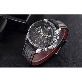 Relógio Masculino Luxo Megir Pulseira Couro À Prova De Agua