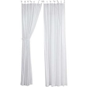 Vhc Brands Farmhouse Ventana Curtains Nora Corbata Blanca Pa