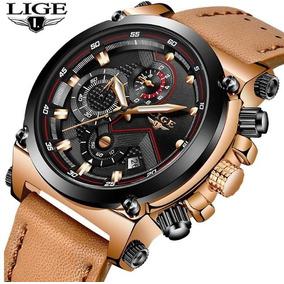 Relógio Masculino Lige 9856 Cronógrafo + Caixa Original
