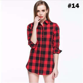 Blusa Camisa Feminina Xadrez Manga Longa Batique Importada