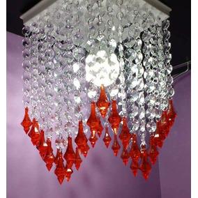 Lustre Paflon De Cristal Acrílico Para Sala D11 Vermelho