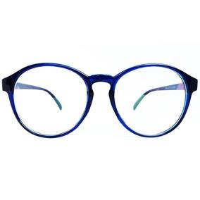 Armação Para Óculos De Grau Redonda Vintage - Azul Escuro 19b69789cb