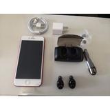 Iphone7 Red 128gb Perfeito + Fones S/ Fio Sast C/ Powerbank
