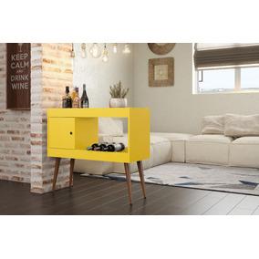 Aparador Sala Com Adega Brilhante - Amarelo