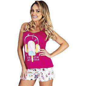 Pijama Curto Calor Verão Feminino Adulto Roupa De Dormir