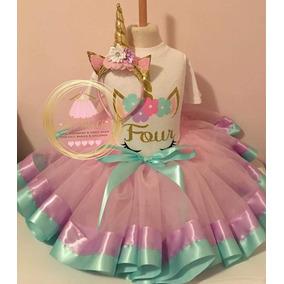 Set Outfit Tutu Unicornio De Cumpleaños Personalizado