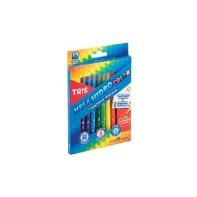 Canetinha Hidrográfica Escolar 12 Cores Mega Hidrocolor Tris