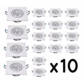 Kit 10 Spot 5w Super Led Quadrado Direcionável Teto Embutir