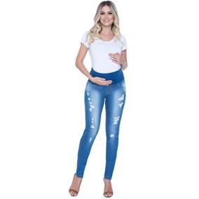 Calça Jeans Gestante Rasgada Para Grávida