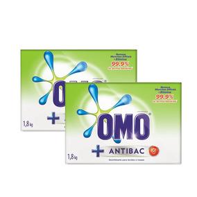 Kit Sabao Em Pó Omo Antibacteriano 1.8kg 50% Na 2un