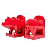 Ceramica Roja De Cerdo, Sujetalibros Decorativos De 13 Pulga