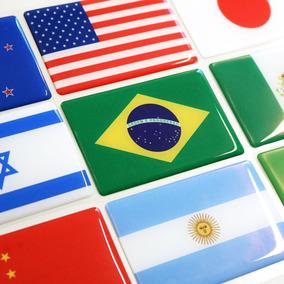 Adesivo Bandeira Brasil Países Estados Resinado - 9x6 Cm
