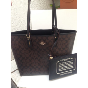 Bolsa Coach 100% Original Chocolate Doble Vista Negra Piel