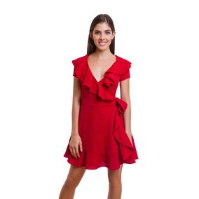 Vestido Rojo Corto Con Olanes Y Ajuste En Cintura Denim Co.