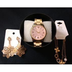 3 Super Kits Feminino Relógio + Brinco + Pulseira