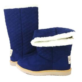 Bota Dama Frío Larga 20 Cm Azul Ugg Otoño Invierno Térmica
