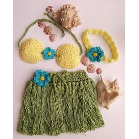 Cojunto Hawaiano Niñas Crochet