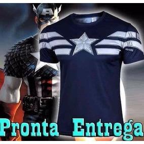 Oferta Camisa Capitão América Azul Escura Marvel Comic Herói