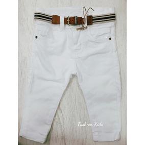Calça Jeans Skinny Estilosa Branca Bebê Menino 1 A 12 Meses