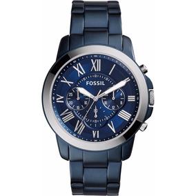 Reloj Fossil Fs5230 Caballero Metal Azul Con Fondo Azul