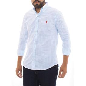 Camisa Social Ralph Lauren Cst Fit Quadriculada Azul Claro