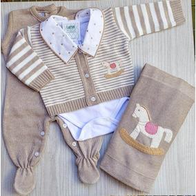 Saída Maternidade De Tricot 4 Peças Listrada Com Manta