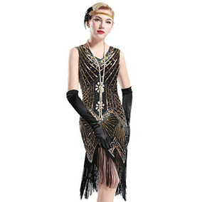 Vestido Vintage Fiesta Gatsby 1920s Dorado M Babeyond