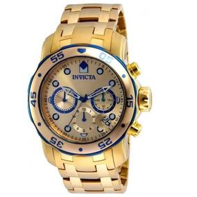 Relógio Invicta 48mm Pro Diver Scuba Banhado Ouro 18k 80069