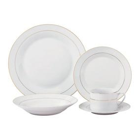 Jogo De Jantar 20 Pecas Porcelana Prato Xicara Pires Cozinha