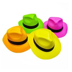 12 Sombreros Bombin Gangster Neon Colores Fosfo Fiesta Boda 3eeddc26e07