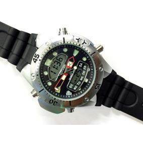 Relógio Atlantis Aqualand Jp1060 Fundo Preto Borracha Citzen