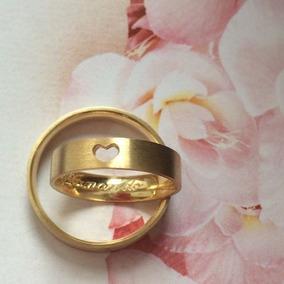 Par De Alianças Ouro Casamento Noivado 5mm 10k