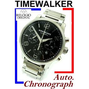 Montblanc Timewalker Auto Crono 43 Mm Black Aço-aço!