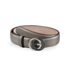 Cinturón De Cuero Texturizado Gucci Con Hebilla G Que Se.