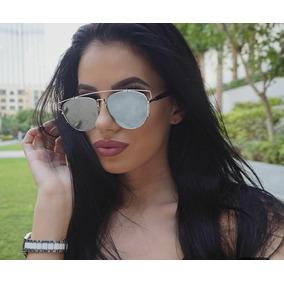 Óculos Com Uv400 Prateado De Praia Feminino Moda Lançamento c6ab01b494