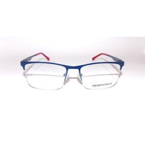 cc0d0377bedc2 Armação Oculos Grau Emporio Armani Meio Aro Titanium Ea1242 - Óculos ...