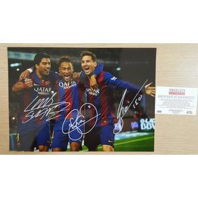 Poster Autografado Por Neymar Suarez E Messi