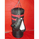 Saco De Box + Guantes . Kick Boxing Karate Relleno El Mejor