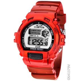 Relógio Esportivo Cosmos Digital Os41379v Cronógraf Vermelho