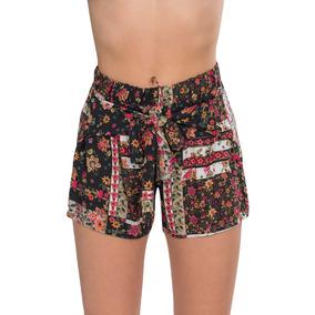 Shorts Mujer Estampados Floreados Negro Rosa Flojos Y91113