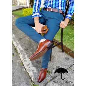 Pantalon De Gabardina Azul Acero Skinny Moon & Rain