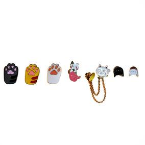 Kit Set 7 Pines De Metal Gatos Gato Moda Para Mochilas Ropa