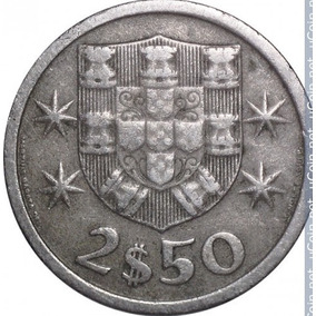 Moeda Portugal - 2,5 Escudos - 1965 Barco