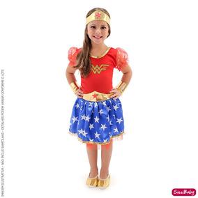 Vestido Fantasia Mulher Maravilha Infantil Braceletes Tiara